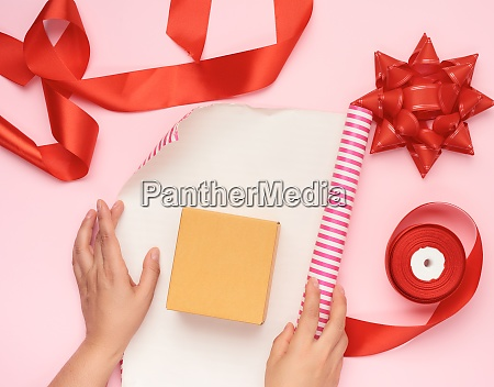 wrapping paper roll box and red