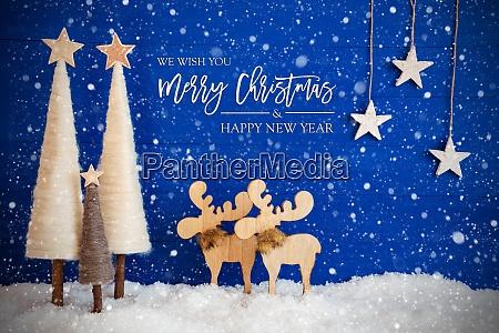 tree moose snow star merry christmas
