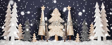 banner christmas trees snow black wooden