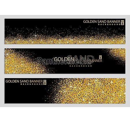 golden sand on black banner collection