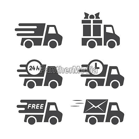 delivery truck black vector icon set