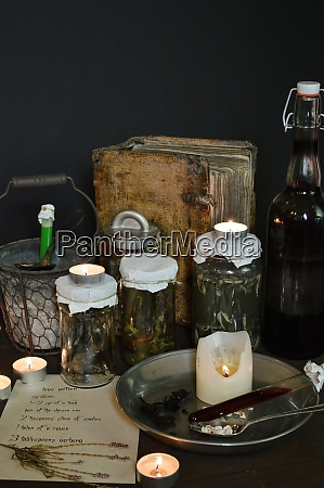 eerie witches kitchen with ingredients for