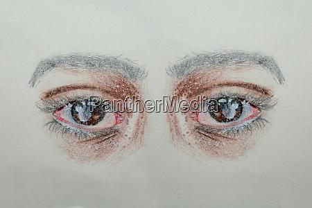 hand drawn and painted human eye