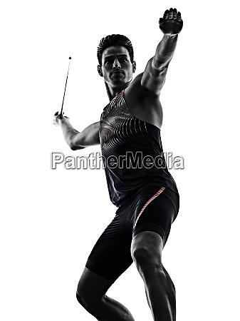 young man athletics javelin athlete isolated