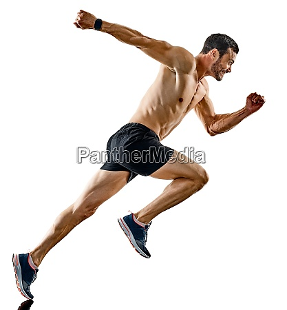 man runner jogger running jogging isolated