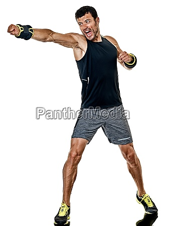 fitness man cardio boxing exercises isolated