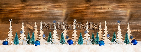 christmas tree banner blue star and