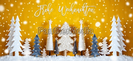 yellow banner trees snowflakes frohe weihnachten