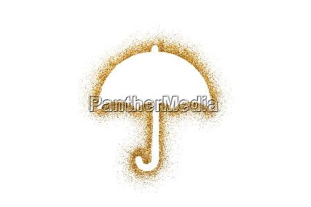open umbrella shape on golden glitter
