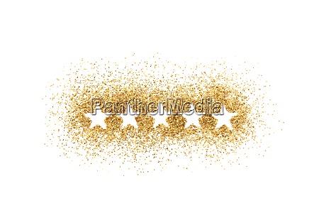 five stars shape on golden glitter