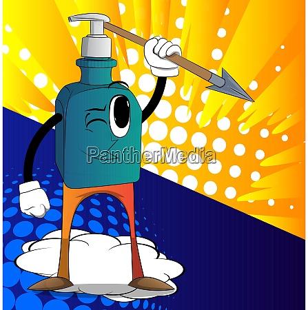 bottle of hand sanitizer holding spear