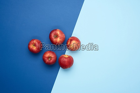 red ripe round apples lie on