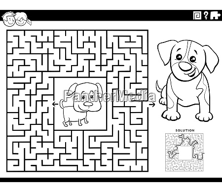 maze game with puppies coloring book
