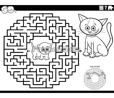 maze game with kittens coloring book