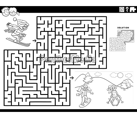 maze game with skiing girls coloring