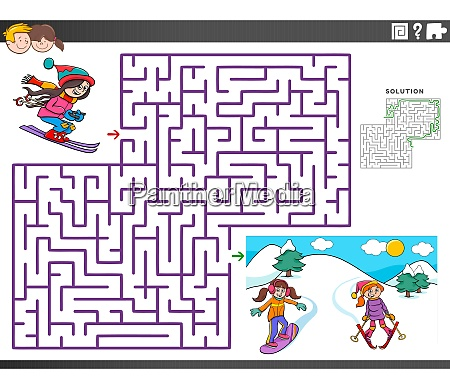 maze educational game with skiing girls
