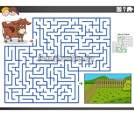 maze educational game with cow and