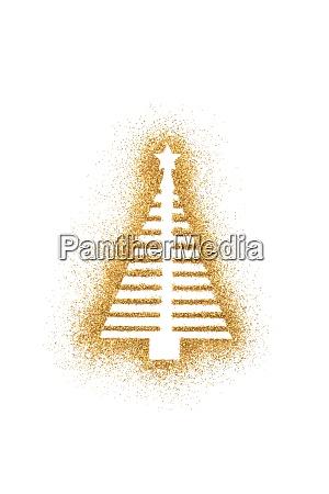 christmas tree shape on golden glitter