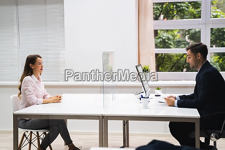 young woman meeting consultant or lawyer