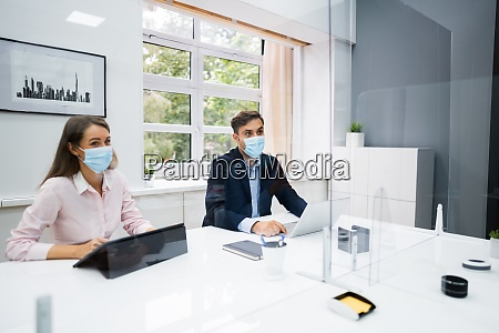 face mask office social distancing meeting