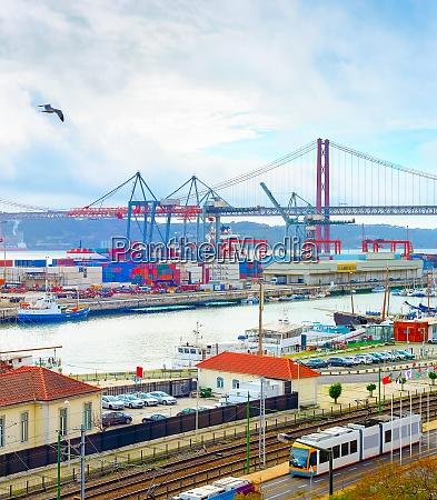 lisbon commercial port containers bridge