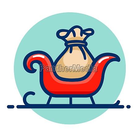 vector santa claus sleigh icon