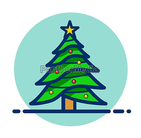 vector christmas tree clipart icon