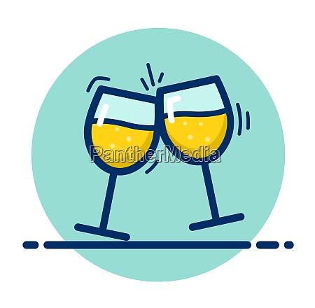 vector champagne glasses color icon