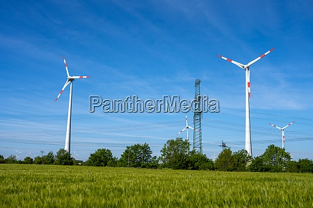 wind power turbines and power lines