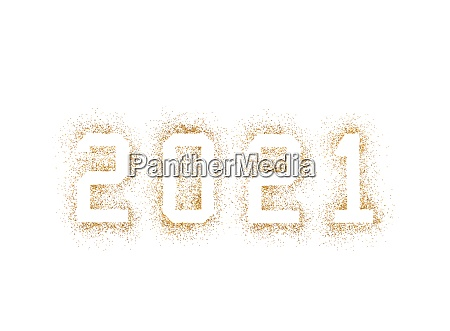 golden 2021 numbers made of glitter
