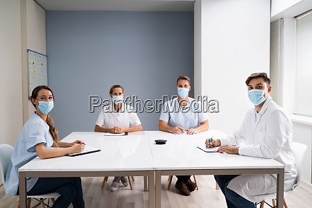 medical doctor students at desk learning
