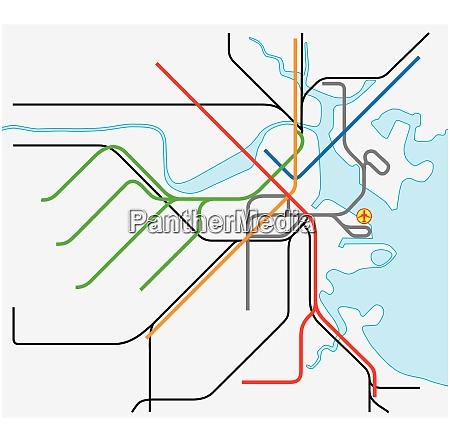 subway vector map of boston massachusetts
