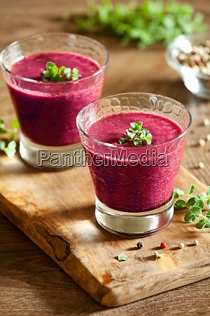 glasses of homemade beetroot gazpacho