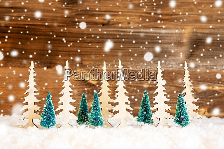 christmas tree snow wooden background copy