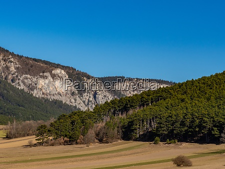 landscape mountain view and cloudless sky