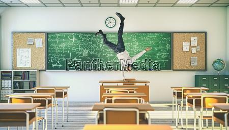 upside down teacher balancing on a