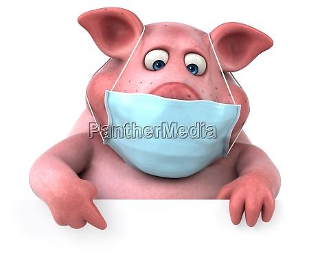 fun 3d illustration of a pig