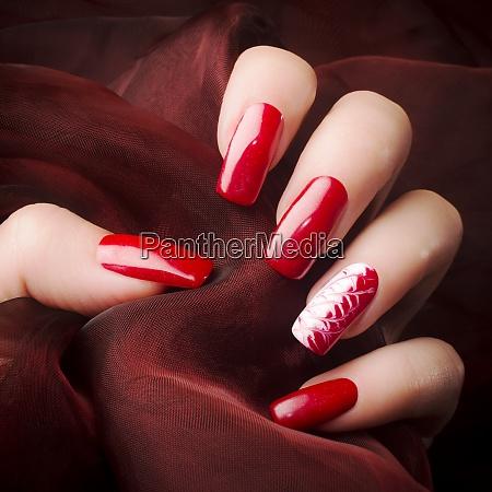 beautiful red nails manicure