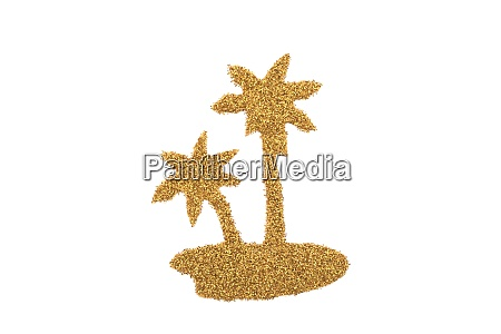 golden palm island made of glitter