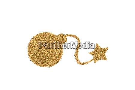 golden bomb shape made of glitter