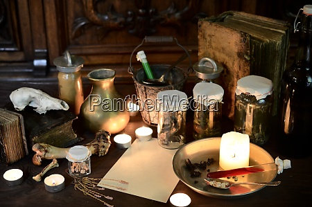 eerie witches kitchen with ingredients and