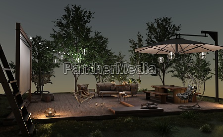 3d rendering home movie outside