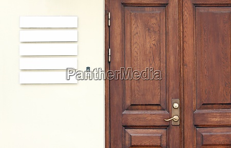 wooden office doors with blank company