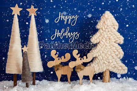 christmas tree moose snow text happy