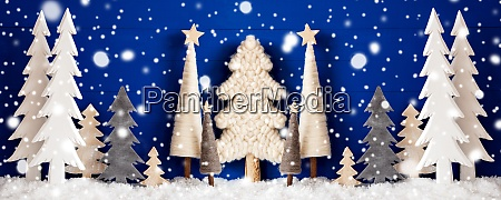 banner christmas trees snow blue wooden