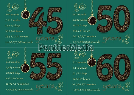 birthday cards set golden numbers 45