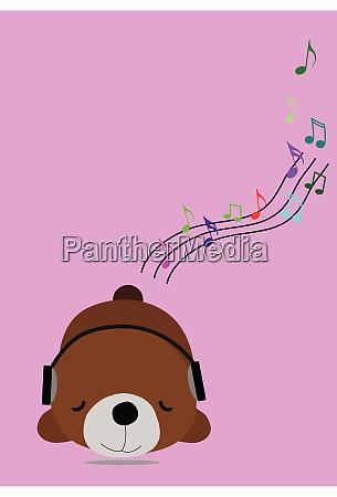 brown bear wearing headphones sleep listening