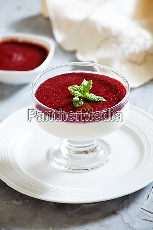 homemade panna cotta with cherry syrup