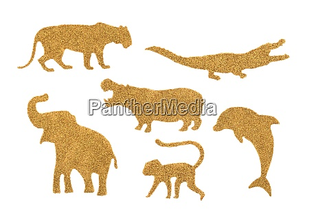 collection of golden wild animals made
