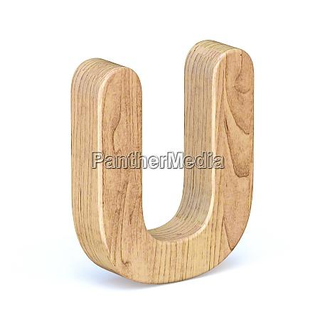 rounded wooden font letter u 3d